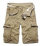 ZKOO Militaire Cargo Shorts Hommes Bermuda Shorts Avec Multi Poches Eté Pantacourt Shorts Court Pantalon de Travail Vintage (SANS CEINTURE)