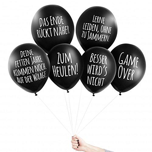 Pechkeks Anti-Party-Ballons, schwarze Luftballons mit schrägen Sprüchen, Bis -