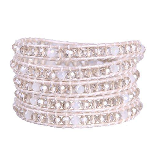 KELITCH Kristall Perlen Weiß Leder Wrap Armband Freundschaftsarmbänder - Perlen-wrap Und Leder Armband