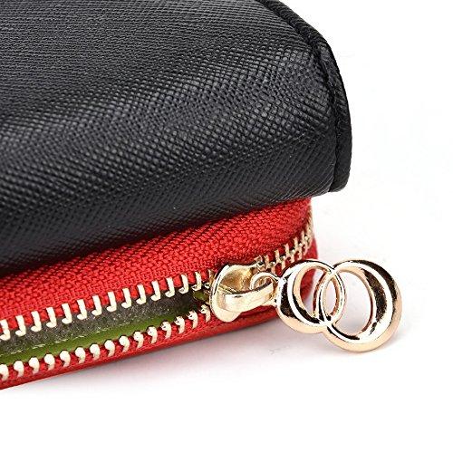 Kroo d'embrayage portefeuille avec dragonne et sangle bandoulière pour Samsung Galaxy Ace Style Multicolore - Black and Orange Multicolore - Noir/rouge