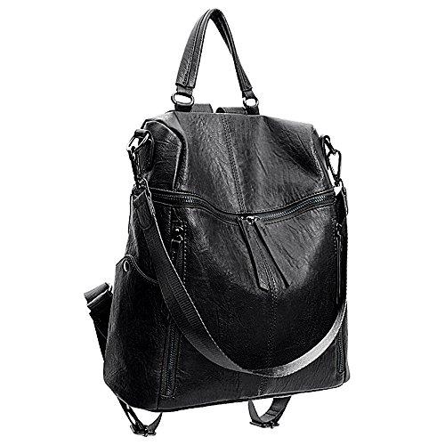 Uto zaino casual in pelle sintetica borse a zainetto multifunzionale borsa a tracolla con cerniera nero