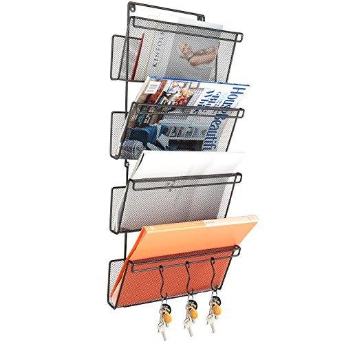 samstar Hängeregistratur Organizer Wand montiert Datei Pocket Magazin Halter mit 3Haken, 4Etagen (4 Pocket Organizer Mail)