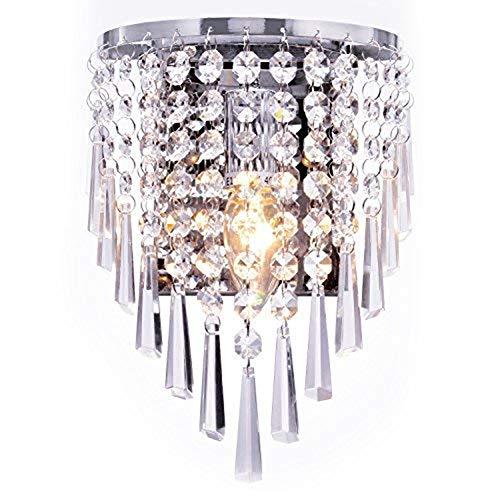 Erwa Kristall Wandleuchte, Moderner Stil Kristall Pendelleuchte Kristall Akzent, Aufputz, Wandlampe Schlafzimmer Gang Wohnzimmer Wandlampenhalter -
