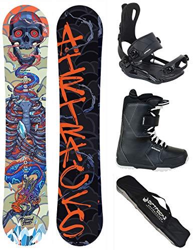 AIRTRACKS Snowboard Set - Tabla Diamond Heart Rocker 150 - Fijaciones Master - Softboots Savage Black 42 - SB Bag