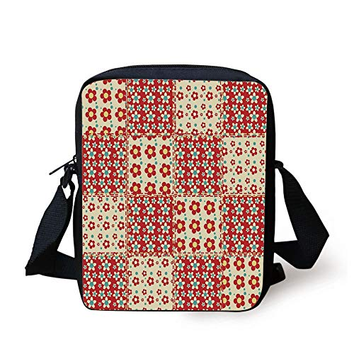 Cabin Decor,Traditional Quilt Pattern with Spring Garden Flowers Daisies Decorative,Light Yellow Turquoise Red Print Kids Crossbody Messenger Bag Purse -
