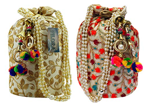 Filora Women's Ethnic Rajasthani Silk Embroidery Party Wear Potli Bag (Multicolour) -Combo Pack of 2