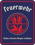 RAHMENLOS Original Blechschild mit dem Feuerwehr Logo lizensiert