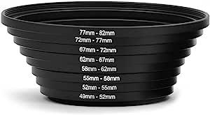Belmalia 8 Step Up Ringe Set Objektiv Filter Adapter Kamera