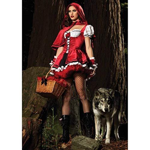 """(Cosplay Kostüm, Damen-sexy Rotkäppchen-Kostüm Cosplay Halloween Show Spiel Uniform mit Einem Geschenk, """"Keep Going"""" Armband)"""