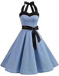 DRESSTELLS® Women's 1950s Dress Retro Polka Dots Halter Vintage Audrey Rockabilly Cocktail Party Dress