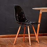 JINSH Home Einfaches Art und Weisekaffee-kreatives Kind des Festen Holzes Freizeit Eames, Das Stuhl speist (Color : Black)