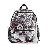 COOSUN Blanco y negro pintura del lobo Kinder Kids Mini Mochila preescolar bolsa del niño...