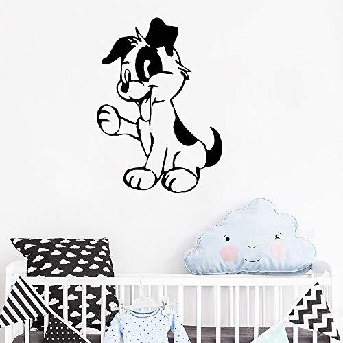 Hündchen Kindergarten Vinyl Wandaufkleber Spielzimmer Wohnkultur Tier Aufkleber Für Kinderzimmer Removable Poster Grooming Salon weiß 56X78 cm ()