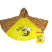 PONBEE Bee Kids Rain Poncho, Yellow, M