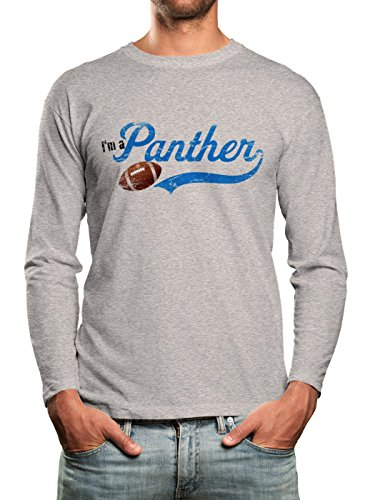 I'm a Panther #1 Longsleeve Shirt Super Bowl Play Offs American Sports USA Langarm T-Shirt, Farbe:hellgrau (Sport Grey Heather);Größe:S (Langarm Super-bowl-shirts)