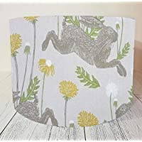Handmade Lampshade made with Clarke and Clarke Fabric in March Hare Yellow Linen Rabbit Lamp Shade Light