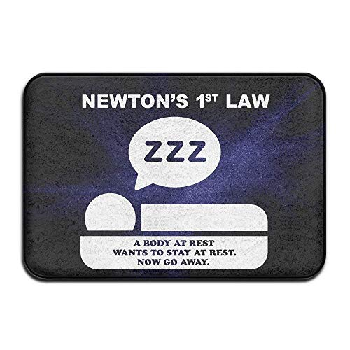 1st Law A Body at Rest Wants to Stay at Rest Now Go Away Indoor/Outdoor Doormat 2416 Inch ()