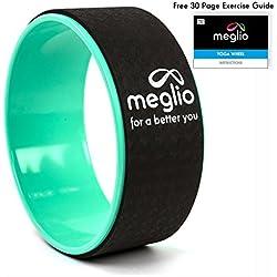 Rueda para Yoga Meglio 33cm - Perfecta para Pilates y Yoga para Ganar en Flexibilidad - Aliviar Tensión Muscular, Ejercicios de Estiramiento de Espalda, Caderas, Hombros y Abdomen - Incluye Instrucciones para el Usuario