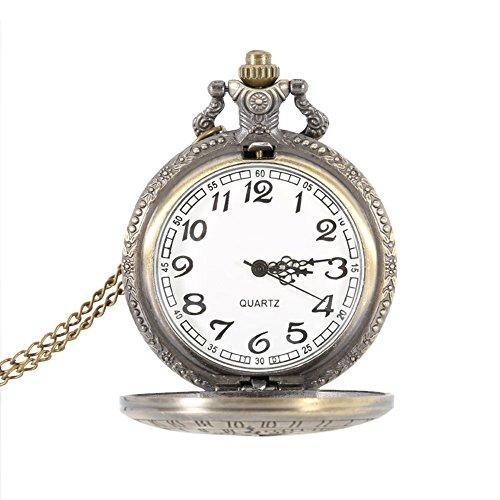hrph Retro-Legierung Steampunk Taschenuhr Quarz Anzahl römischen rund Fall Uhr-Kette Geschenke, 2