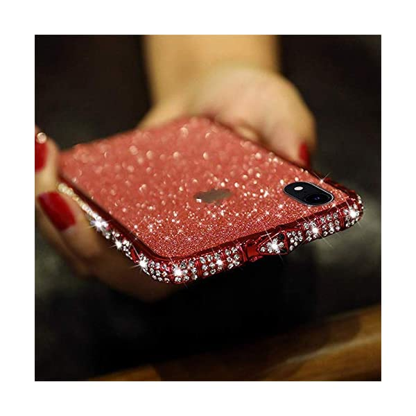 Uposao Compatible with iPhone XS Max Case Glitter Sparkly Bling Case for Girls Women Shiny Diamond Rhinestone Metal Bumper Frame Glitter Sticker Case Cute Fashion Case,Red Uposao Compatible Model: iPhone XS Max Made of independent bling back sticker and hard aluminum alloy bumper frame, sleek and elegant. Pretty bling artificial diamond on the frame and shiny back sticker make your phone different and eye-catching. 5