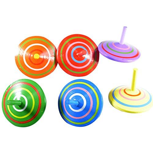 CTGVH mini trottole, trottola in legno classico multicolor Cartoon peg-top Gyro giocattoli educativi per bambini bambini festa di compleanno favori confezione da 6