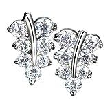 18?K Wei? Gold 925?Sterling Silber Zirkonia Diamant Kristall Maple Leaf Neuheit Ohrstecker Silber Schmuck f?r Frauen M?dchen Teens Geschenke Idee