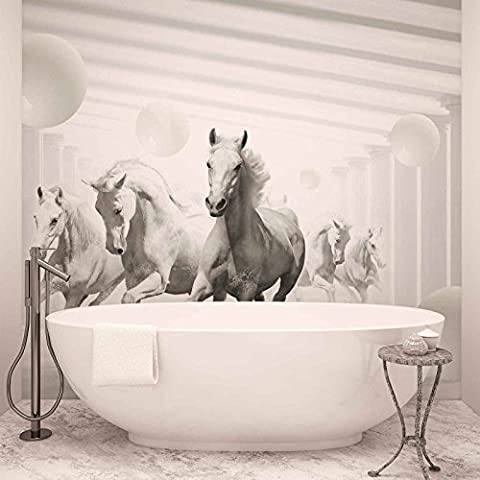 Horses White Spheres - Photo Wallpaper - Wall Mural - Giant Wall Poster - XXL - 368cm x 254cm - Standard Paper (NOT EasyInstall) - 4 Pieces