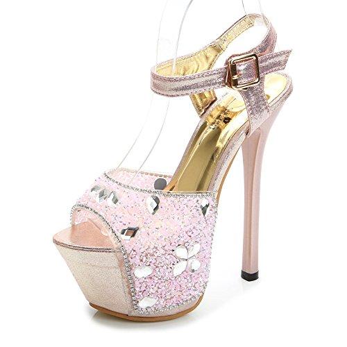 auftritt - smoking 15cm super - heels wasser drill - sandalen,pink (Smoking Und Heels)