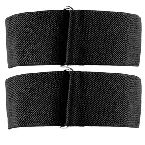 Yinew Unisex Elastische Armbinden Shirt Strumpfbänder Einstellbare Hemd Ärmel Halter 2 / Pack Einfarbig, Schwarz (Shirt-ärmel-strumpfband)