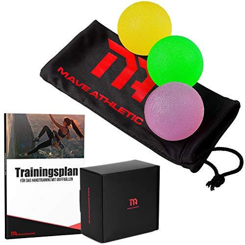 MAVE ATHLETIC Handtrainer Griffbälle im 3er Set - Effektive Fingertrainer Antistressbälle für mehr Griffkraft