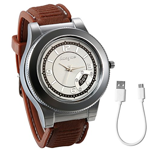 JewelryWe Herren Armbanduhr, Neuheit Digital USB Zigarettenanzünder Silikon Armband Uhren mit Winddicht Flameless Feuerzeug Funktion, Braun