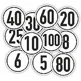Geschwindigkeitsaufkleber / Weiß / Bus / Auto / Anhänger / Ø 10cm (20Km/h)