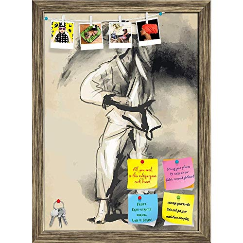 ArtzFolio Martial Arts Karate Printed Bulletin Board Notice Pin Board cum Antique Golden Framed Painting 12 x 16.5inch