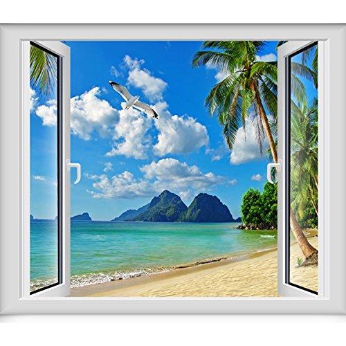 JINZAI 3D massive Wand Tapeten emulation Fenster Aussicht von selbstklebenden abnehmbar und unbezähmbaren Ozean Blick 4, maximal