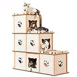 Kaxima Kratzbaum Katzenbaum Wellpappe Dreidimensionale Katze Haus Kätzchen Nach Hause Schleifen Klaue Dach Multi-Verformung 98 * 37 * 99 cm