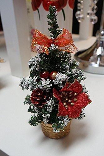 Sweet Home Deco 22,9cm Mini Weihnachtsbaum Tisch Bonsai für Weihnachten W/Weihnachtsstern, rote Beeren, Tannenzapfen, gold Korb (1, red-christmas Baum)