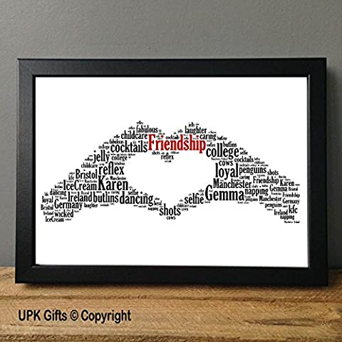 Personalised Print Gift Word Art with FREE FRAME Love Hand Heart Mum Wedding Bridesmaid Best Friend