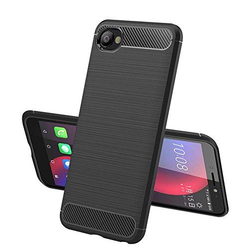 TopACE Hülle für HTC Desire 12, Flexiblem TPU Silikon Hybrid Schutzhülle Kohlenstoff-Fasern Tasche Slim-Fit Case für HTC Desire 12 (Schwarz)