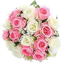 Fleurs Artificielles Roses de Mélange de Couleurs Blanc et Rose SOLEDI 18 Têtes Fleurs Mélangés pour Bouquet De Mariée Mariage Salon Table Maison Jardin Décoration