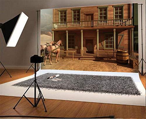 EdCott 9x6ft Vinyl Fotografie Hintergrund Wild West Alten Westlichen Holzhaus Bar Chalet Pferd Foto Fotografie Fotoaufnahmen Party Erwachsene Hochzeit Persönliches Porträt Fotostudio Requisiten