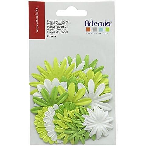 Artemio-Fiori di carta, confezione da 24 pezzi, colore: verde
