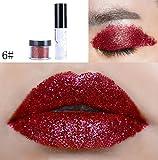 Fuibo Glitzer Lip Gloss Powder Palette Glitzer Lippenstift Kosmetische Augen Schatten (F)