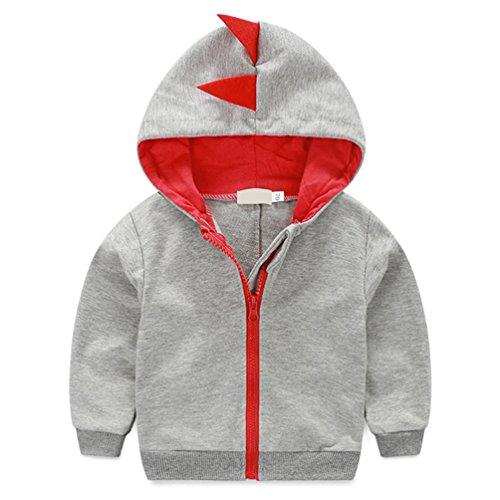 Lymanchi Toddler Boy Hooded Zipper Sweatshirt Dinosaur Print Long Sleeve Outwear