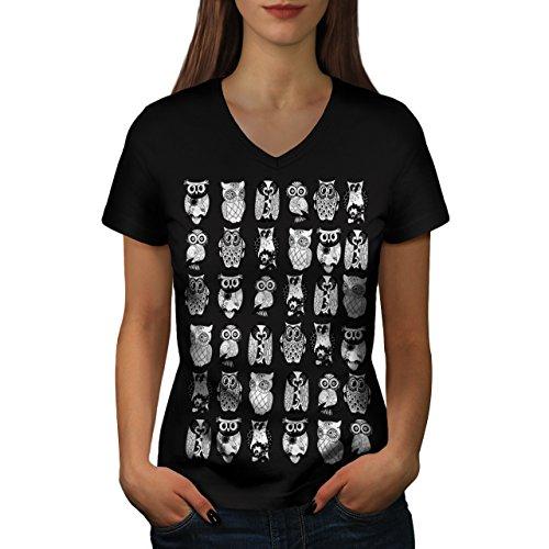 Mehrere Eule Komisch Vogel Kunstwerk Frau XXL V-Ausschnitt T-Shirt | Wellcoda (Vögel Graphic T-shirt)
