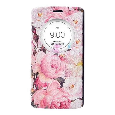 LG G3 D855 Quick Circle Schutzhülle, LG G3 Flip Case, LG G3 Leder Tasche, LG G3 Handycover, Moon mood® Ansicht Fenster Flip Schutzhülle für LG G3 Quick Circle to Show Time [View Window] PU Leather Flip Wallet Stand Flower Phone Case Cover für LG G3 D855 (5.5 inch)