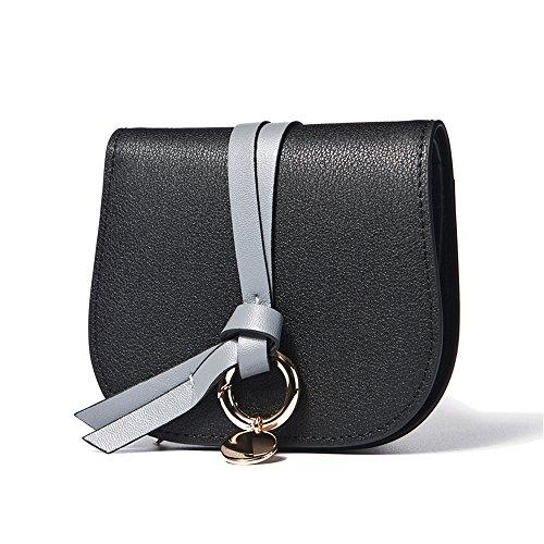 Woolala Donne Contrasto Colore Portafogli Breve Con Anello Design Bifold Piccola Borsa Portacarte, Nero Black