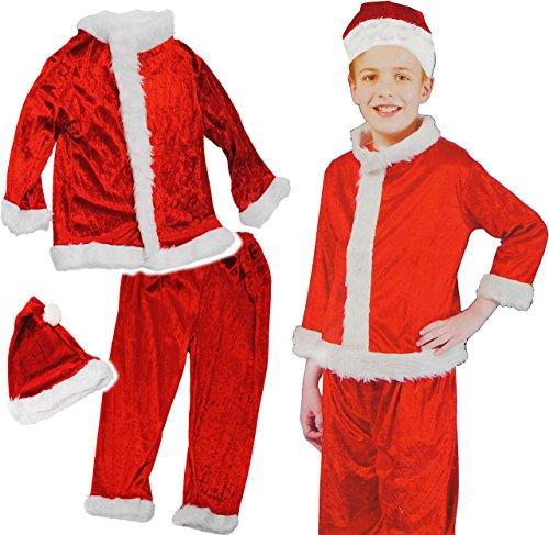 Weihnachtsmann Kleine Kostüm Mädchen Für - Unbekannt 3 TLG. Kostüm Weihnachtsmann - 4 bis 6 Jahre - Gr. 110 - 128 - Karneval / Weihnachten / Nikolauskostüm / Nikolaus - Hose + Jacke + Mütze - für Kinder Kind Kin..