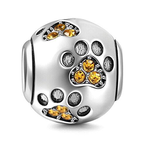 Abalorio de plata de ley 925 con diseño de huella de perro, para pulsera Pandora champán