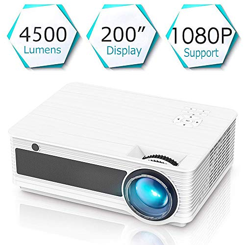 Proyector de 4500 lúmenes con Soporte Full HD 1080P Proyector de Techo LED Proyector de 55000 Horas de Cine en casa Compatible con HDMI/VGA/AV/USB Fire Stick TV, teléfono Inteligente, PC, etc,White