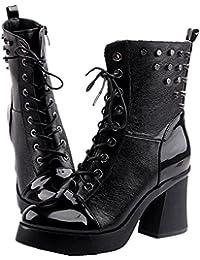 5c8134e416bda3 WLITTLE Damen Martin Stiefel Lacklederschuh Nieten Punk-Stil Knight Boot  Mit Blockabsatz Zipper Knight Boots